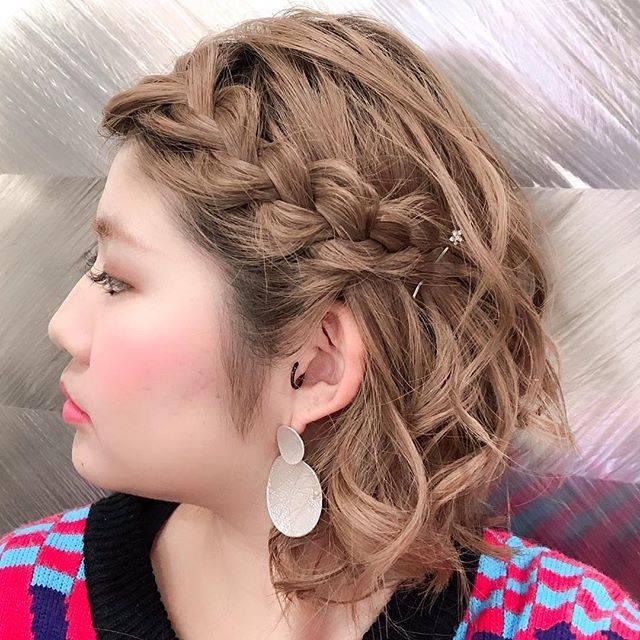 "hair salon biasshu 〜ビ・アッシュ〜 on Instagram: ""set by Yamana❤️ #前髪編み込み#簡単ヘアアレンジ#ボブ…"" (127604)"