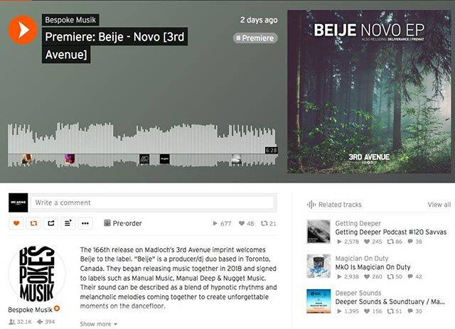 "3rd Avenue on Instagram: ""Many thanks to @bespokemusik for the premiere of @realbeijemusic 'Novo"" which will be released after the weekend!  #bespokemusik #beije…"" (629327)"