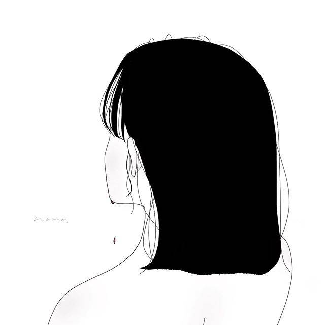 """楓 on Instagram: """"#イラスト #イラストグラム #線画 #線画イラスト #女の子 #女の子イラスト #涙 #黒髪 #お洒落さんと繋がりたい #illustration #illustrations #art #girl"""" (750341)"""
