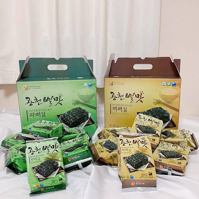 """J ( 제이 ) on Instagram: """". 2019.05 私のだいすきなオンニからもらって 美味しすぎて韓国国内のオンラインで 買っておいた韓国海苔です。 . これは1袋28枚入りで12袋入ってます。 10枚入りで32袋入りのもや大きい海苔の ものもネットではありました。 . 2個ずつ買っておいておっぱの実家に…"""" (764414)"""