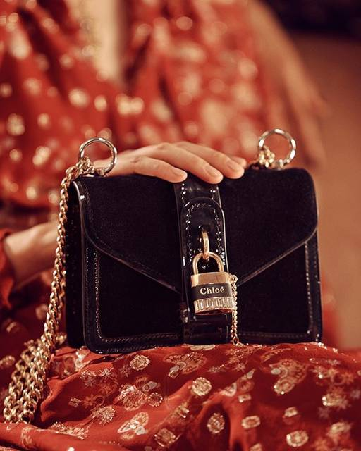 """Chloé on Instagram: """"A last-minute addition to your wish list: Aby Chain mini shoulder bag with black velvet and rhinestone detailing  Available in boutiques…"""" (766506)"""