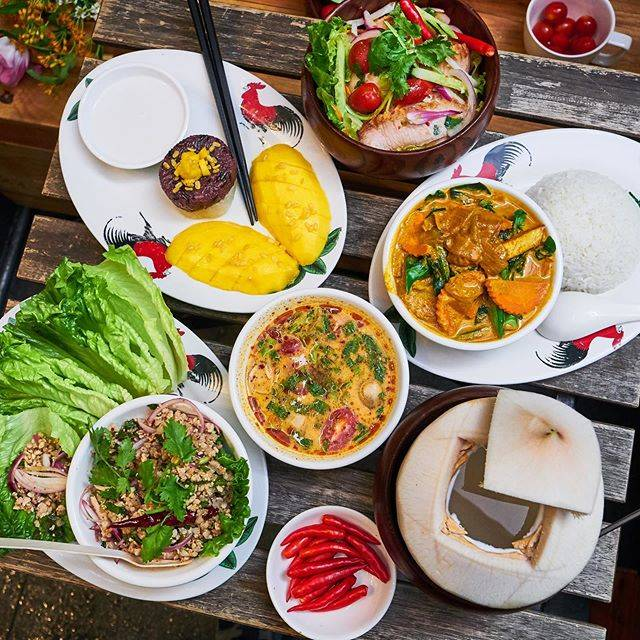 """Thai-ger on Instagram: """"Lettuce wrap, sweet and sour salad, spicy tom yum, curry, mango sticky rice, Coconut drink! Visit us for a filling and flavorful Thai…"""" (774194)"""