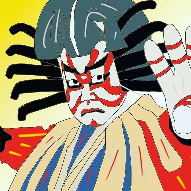 """Mubaku on Instagram: """"歌舞伎、隈取り。#歌舞伎#隈取り#土蜘蛛#伝統芸能#日本#市川団十郎#イラスト"""" (794814)"""