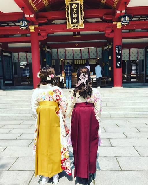"""@yukari.44 on Instagram: """"卒業おめでとう。卒業式は開催されなかったけど、沢山の人にお祝いされて、また、最後に素敵な仲間と大切な時間を過ごす事ができて良かったね。かけがえのない4年間の思い出を胸に社会人として頑張ってね。#祝 大学卒業#袴着れて良かった#西宮神社"""" (823584)"""