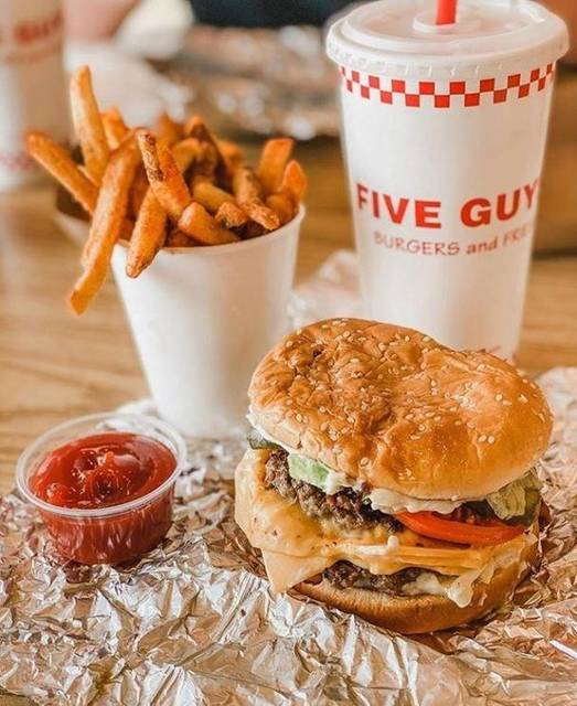 """Westfield Valencia Town Center on Instagram: """"🍔+🍟= the perfect comfort food. Click the link in bio for our retailers offering takeout and delivery.cc: @fiveguys📸: @devouringokc"""" (842394)"""