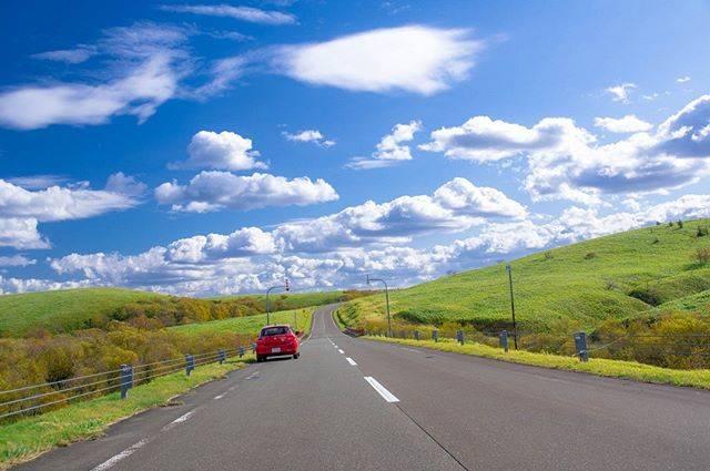 "@wandoku on Instagram: ""2019年秋。宗谷丘陵の一筋の道をゆく。爽やかな秋の風、果ての無い青空のキャンバスに白い雲のコントラストが眩しかった。…"" (876540)"