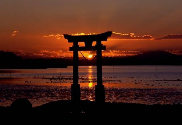 Sunset Shrine Sea - Free photo on Pixabay (87357)