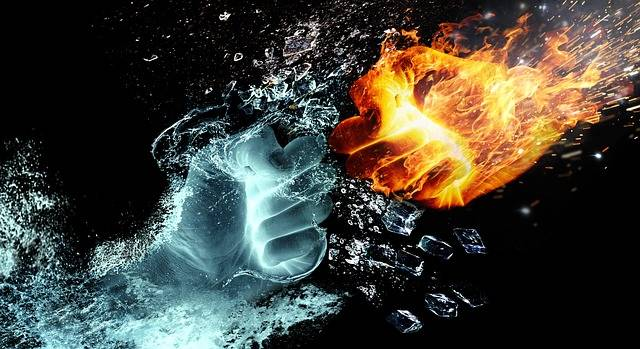 Fire And Water Fight Hands - Free image on Pixabay (172636)