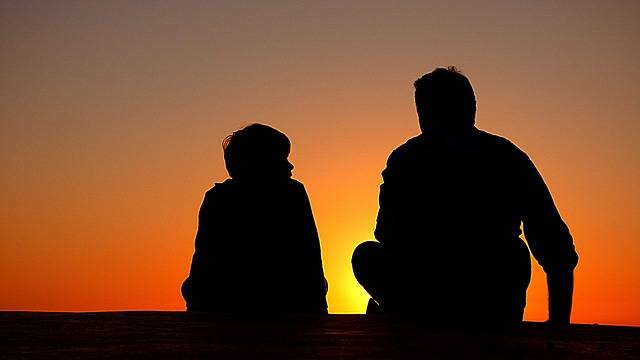Silhouette Father And Son Sundown - Free photo on Pixabay (185184)