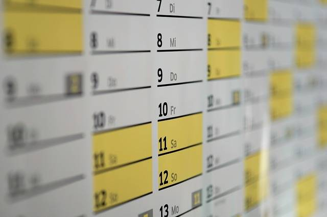 Calendar Wall Days - Free photo on Pixabay (272489)