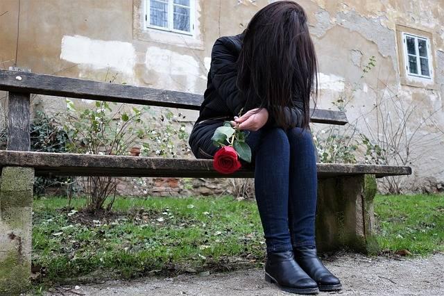 Sad Girl Red Rose Lonely - Free photo on Pixabay (471568)