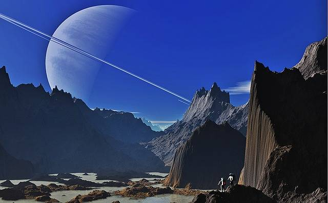 Saturn Landscape Mountains - Free image on Pixabay (484043)