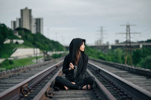 Railroad Tracks Sitting Woman - Free photo on Pixabay (552936)
