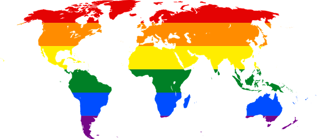 Rainbow World Map Symbol Lgbt Glbt - Free image on Pixabay (746742)