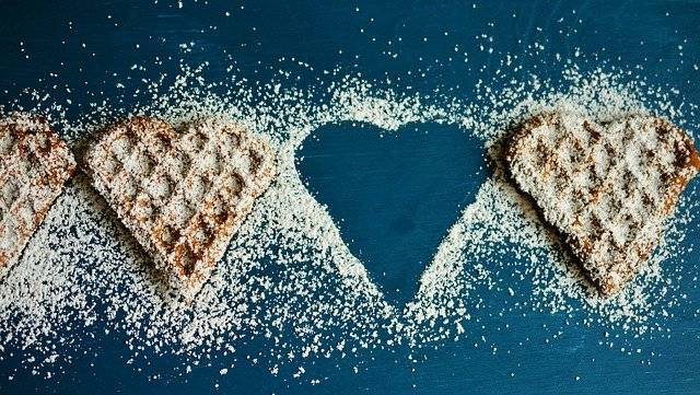 Waffle Heart Waffles Icing Sugar - Free photo on Pixabay (749794)