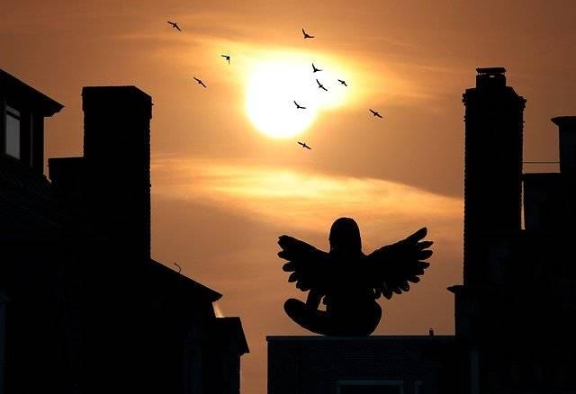 Sunset Houses Silhouette Angel - Free photo on Pixabay (779648)
